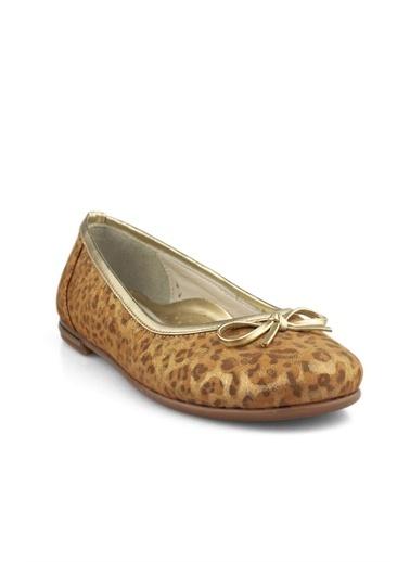 Cici Bebe Ayakkabı Leopar Kız Çocuk Babet Bronz